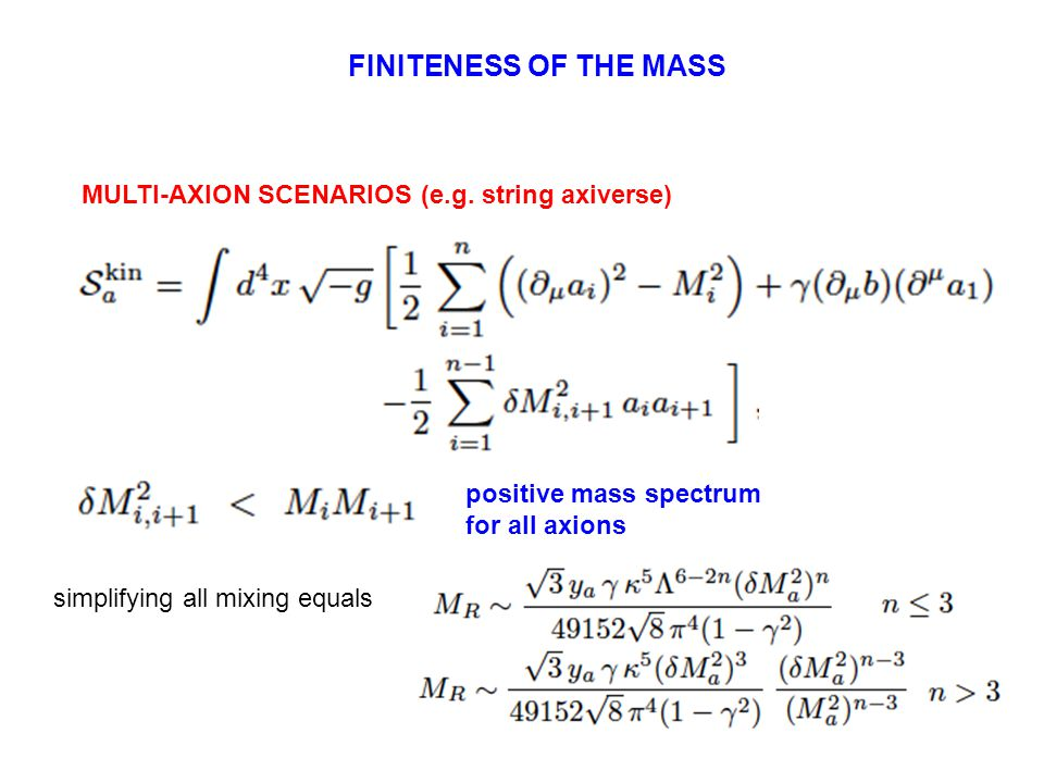 FINITENESS OF THE MASS MULTI-AXION SCENARIOS (e.g.