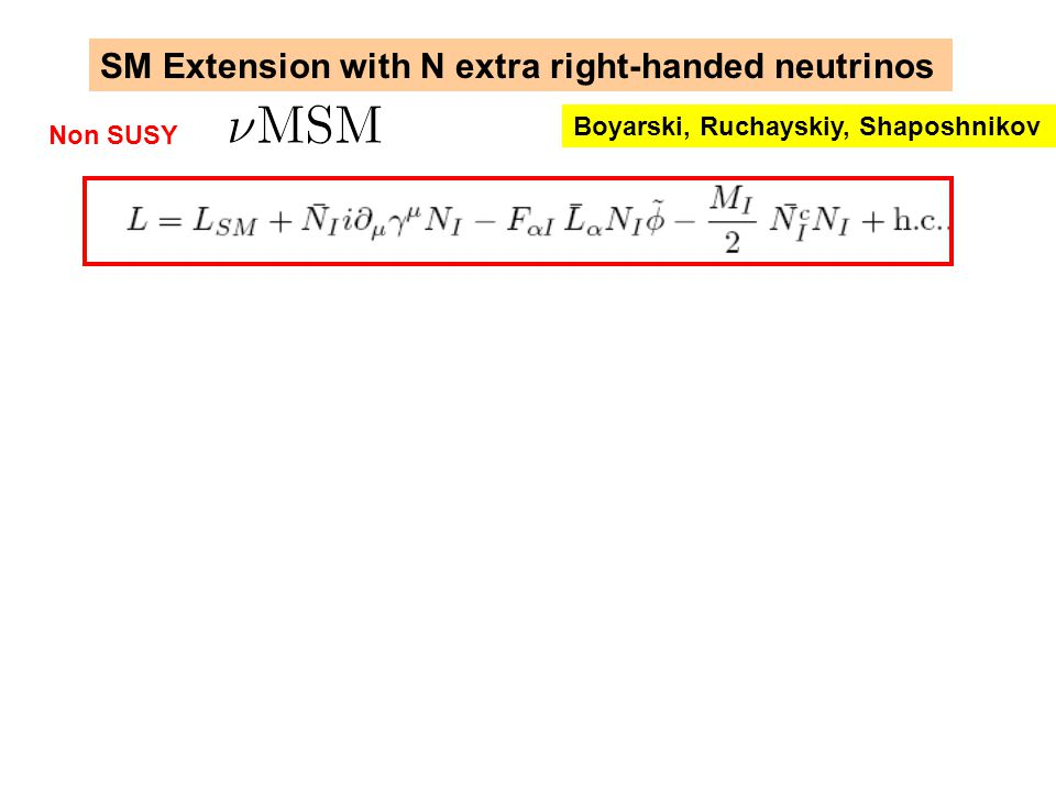 SM Extension with N extra right-handed neutrinos Boyarski, Ruchayskiy, Shaposhnikov Non SUSY