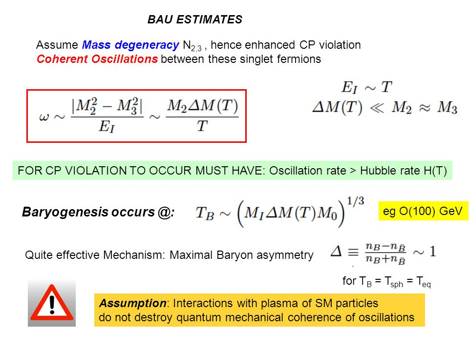 Assume Mass degeneracy N 2,3, hence enhanced CP violation Coherent Oscillations between these singlet fermions BAU ESTIMATES FOR CP VIOLATION TO OCCUR MUST HAVE: Oscillation rate > Hubble rate H(T) Baryogenesis occurs @: eg O(100) GeV Quite effective Mechanism: Maximal Baryon asymmetry for T B = T sph = T eq Assumption: Interactions with plasma of SM particles do not destroy quantum mechanical coherence of oscillations