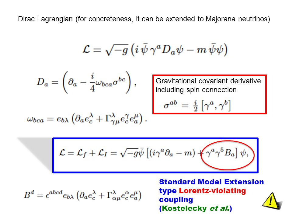 Dirac Lagrangian (for concreteness, it can be extended to Majorana neutrinos) Gravitational covariant derivative including spin connection Standard Model Extension type Lorentz-violating coupling (Kostelecky et al.)