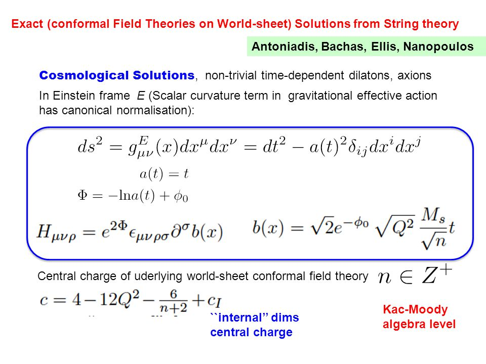 Exact (conformal Field Theories on World-sheet) Solutions from String theory Antoniadis, Bachas, Ellis, Nanopoulos In Einstein frame E (Scalar curvature term in gravitational effective action has canonical normalisation): Cosmological Solutions, non-trivial time-dependent dilatons, axions Central charge of uderlying world-sheet conformal field theory Kac-Moody algebra level ``internal'' dims central charge