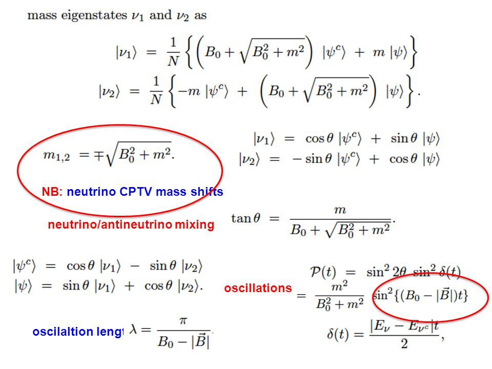 neutrino/antineutrino mixing oscillations oscilaltion length NB: neutrino CPTV mass shifts