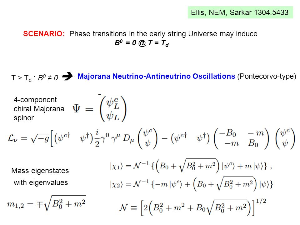SCENARIO: Phase transitions in the early string Universe may induce B 0 = 0 @ T = T d Ellis, NEM, Sarkar 1304.5433 T > T d : B 0 ≠ 0  Majorana Neutrino-Antineutrino Oscillations (Pontecorvo-type) 4-component chiral Majorana spinor Mass eigenstates with eigenvalues