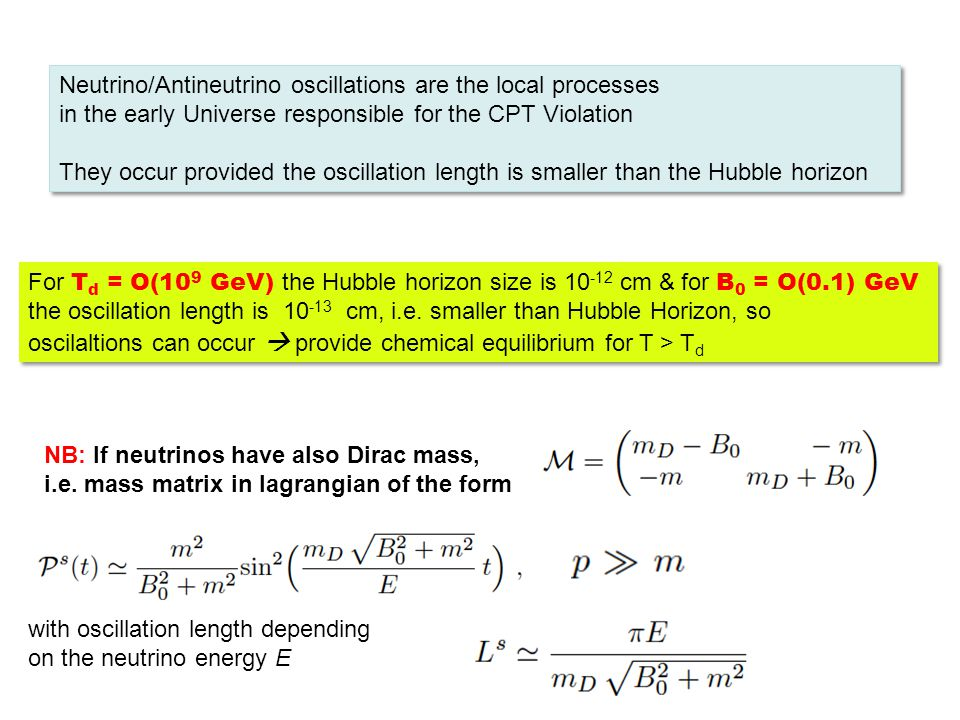 Neutrino/Antineutrino oscillations are the local processes in the early Universe responsible for the CPT Violation They occur provided the oscillation length is smaller than the Hubble horizon Neutrino/Antineutrino oscillations are the local processes in the early Universe responsible for the CPT Violation They occur provided the oscillation length is smaller than the Hubble horizon For T d = O(10 9 GeV) the Hubble horizon size is 10 -12 cm & for B 0 = O(0.1) GeV the oscillation length is 10 -13 cm, i.e.
