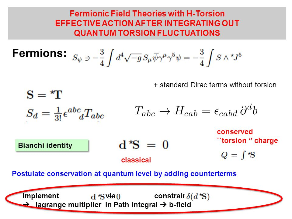 Fermionic Field Theories with H-Torsion EFFECTIVE ACTION AFTER INTEGRATING OUT QUANTUM TORSION FLUCTUATIONS + standard Dirac terms without torsion Fermions: Bianchi identity conserved ``torsion '' charge classical Postulate conservation at quantum level by adding counterterms Implement via constraint  lagrange multiplier in Path integral  b-field