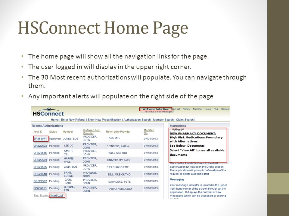 HSConnect Home Page The home page will show all the navigation links for the page.