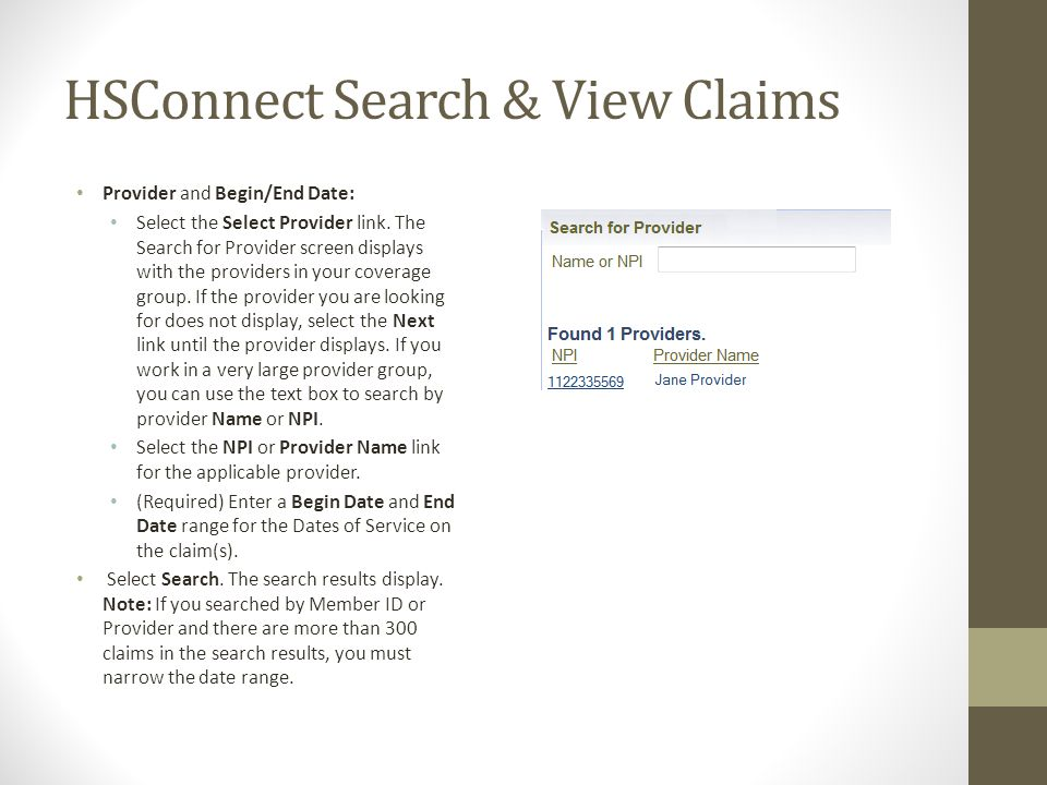 HSConnect Search & View Claims Provider and Begin/End Date: Select the Select Provider link.