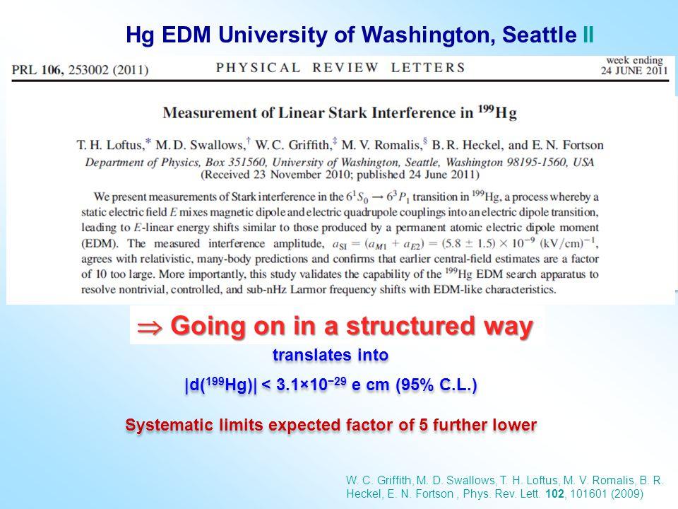 Hg EDM University of Washington, Seattle II d( 199 Hg) = (0.49±1.29 stat ±0.76 syst )×10 −29 e cm translates into  d( 199 Hg)  < 3.1×10 −29 e cm (95%