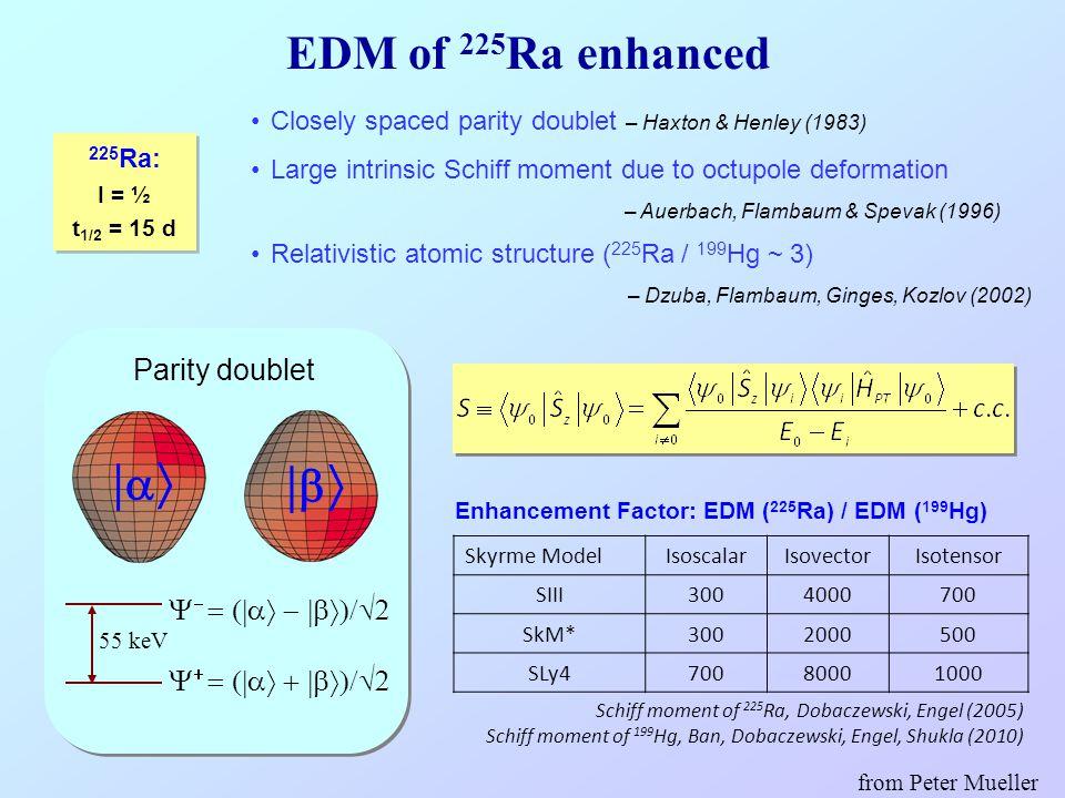 Schiff moment of 225 Ra, Dobaczewski, Engel (2005) Schiff moment of 199 Hg, Ban, Dobaczewski, Engel, Shukla (2010) Skyrme ModelIsoscalarIsovectorIsote