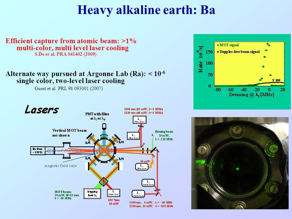 Heavy alkaline earth: Ba Efficient capture from atomic beam: >1% multi-color, multi level laser cooling S.De et al. PRA 041402 (2009) Alternate way pu