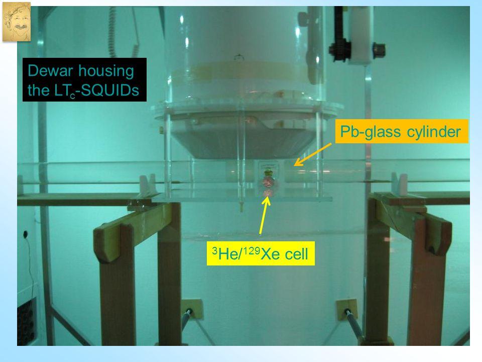 3 He/ 129 Xe cell Pb-glass cylinder Dewar housing the LT c -SQUIDs