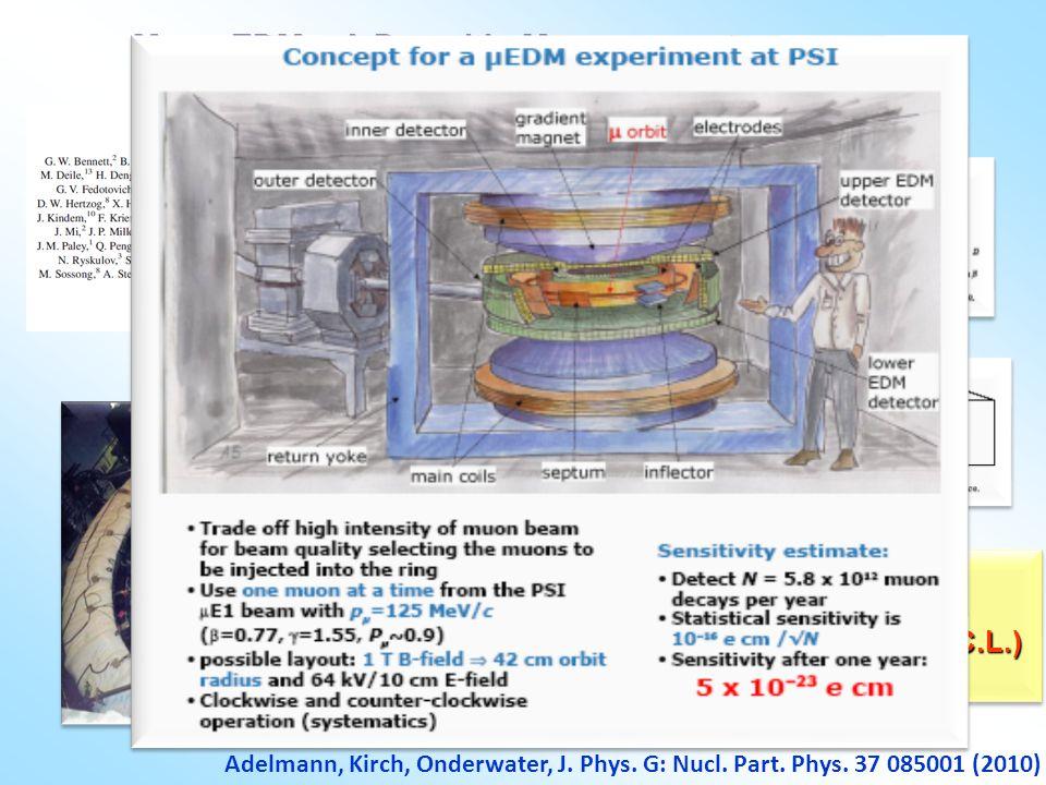 Muon EDM – A Parasitic Measurement 3 methods for analysis: d  < 1.8  10 -19 ecm (95% C.L.) 3 methods for analysis: d  < 1.8  10 -19 ecm (95% C.L.)