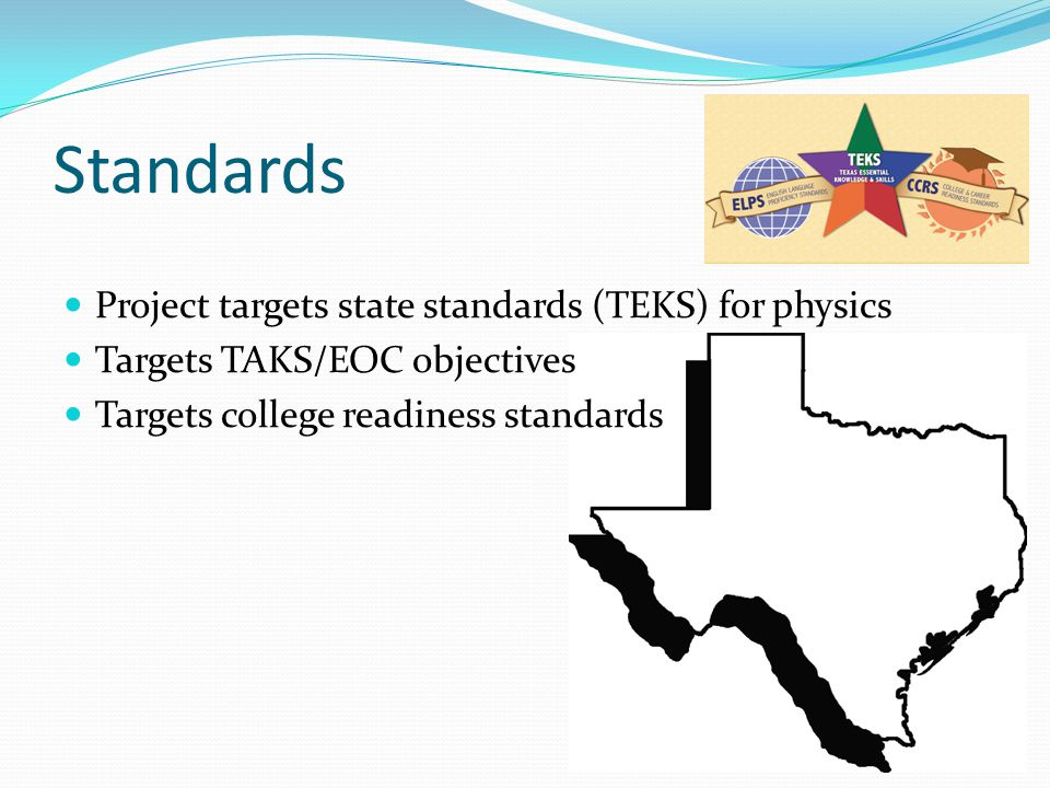 Standards Project targets state standards (TEKS) for physics Targets TAKS/EOC objectives Targets college readiness standards