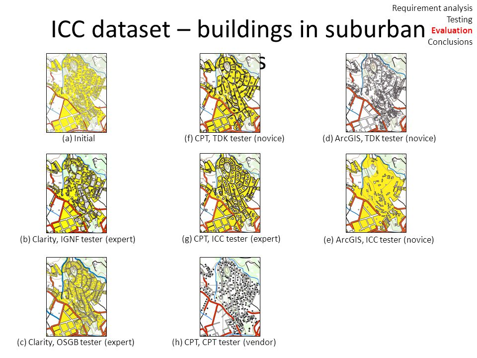 ICC dataset – buildings in suburban areas (a) Initial(f) CPT, TDK tester (novice) (g) CPT, ICC tester (expert) (h) CPT, CPT tester (vendor) (b) Clarity, IGNF tester (expert) (c) Clarity, OSGB tester (expert) (d) ArcGIS, TDK tester (novice) (e) ArcGIS, ICC tester (novice) Requirement analysis Testing Evaluation Conclusions