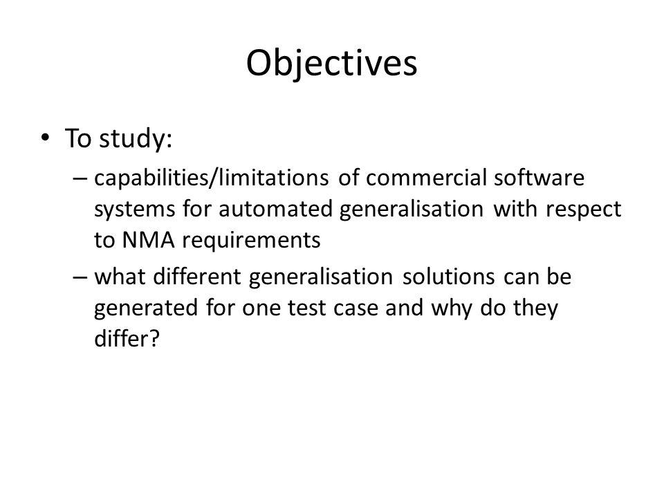 Conclusions capabilities of systems (3/4) For other problems solutions do exist (e.g.