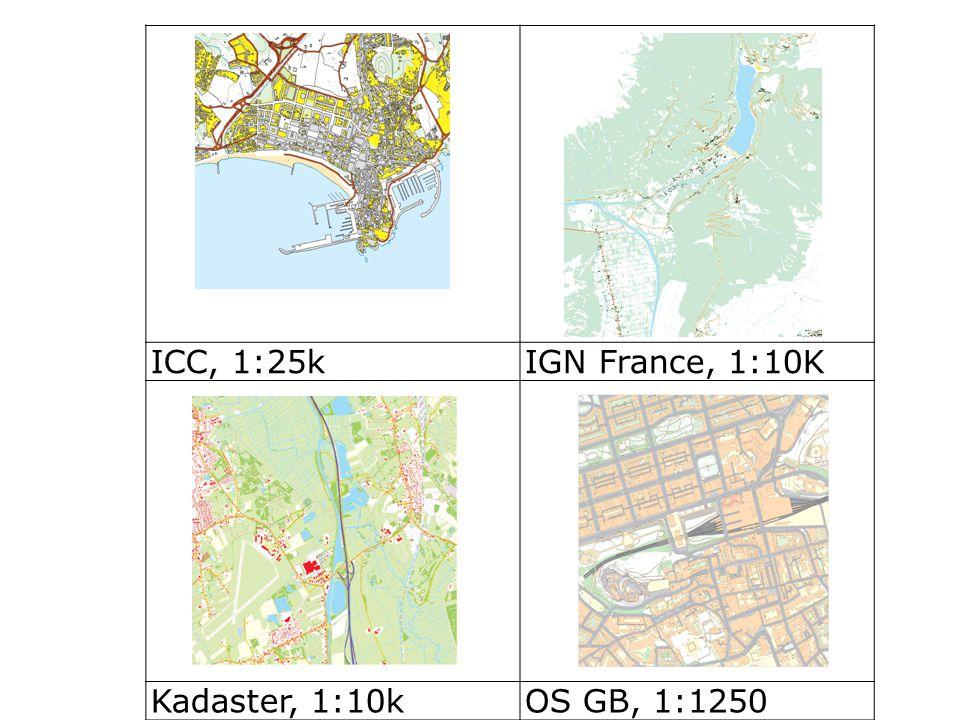 ICC, 1:25kIGN France, 1:10K Kadaster, 1:10kOS GB, 1:1250