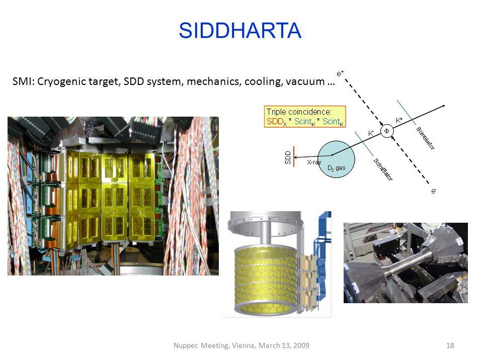 SIDDHARTA Nuppec Meeting, Vienna, March 13, 200918 SMI: Cryogenic target, SDD system, mechanics, cooling, vacuum …