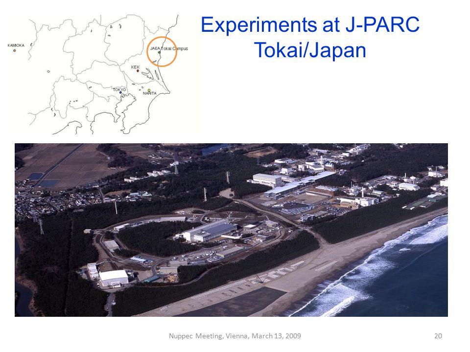 Experiments at J-PARC Tokai/Japan Nuppec Meeting, Vienna, March 13, 200920