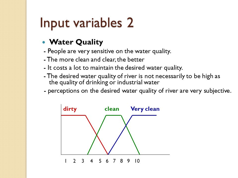Input variables 2 Water Quality - People are very sensitive on the water quality.