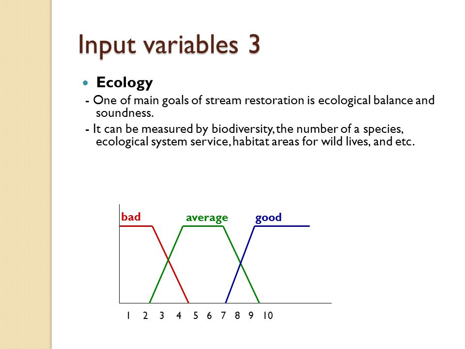 Input variables 3 Ecology - One of main goals of stream restoration is ecological balance and soundness.