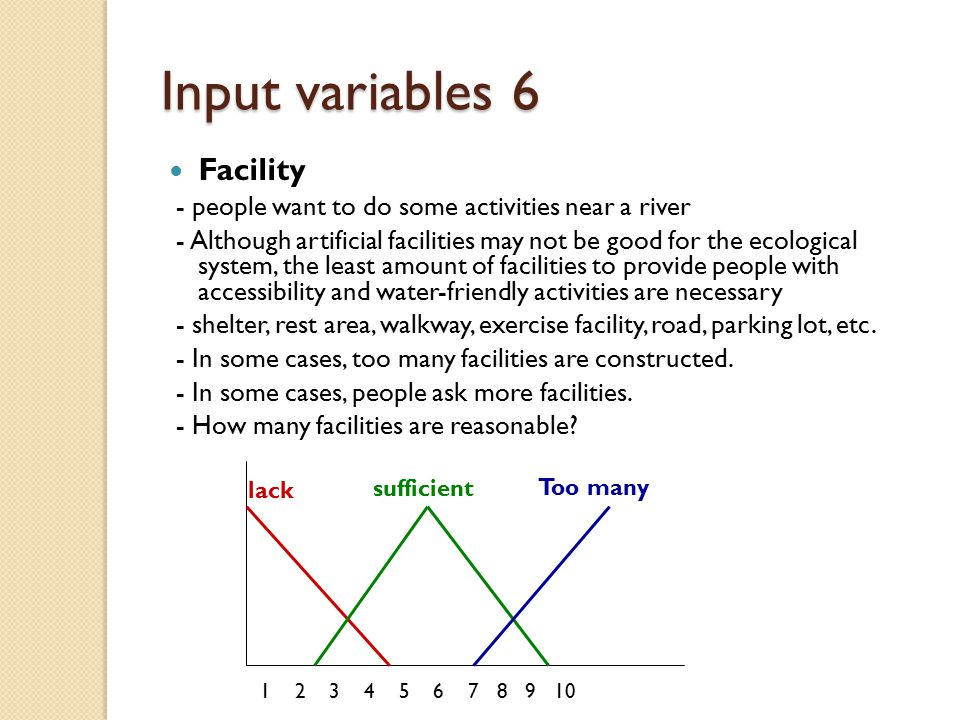 Input variables 6 Facility - people want to do some activities near a river - Although artificial facilities may not be good for the ecological system, the least amount of facilities to provide people with accessibility and water-friendly activities are necessary - shelter, rest area, walkway, exercise facility, road, parking lot, etc.