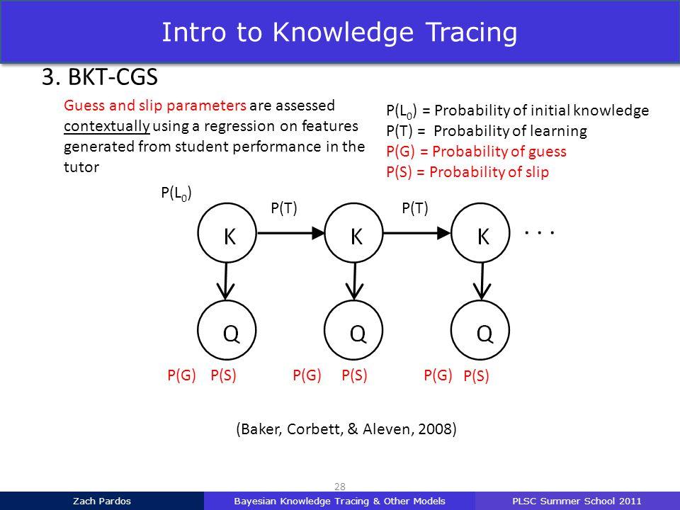 P(L 0 ) = Probability of initial knowledge P(T) = Probability of learning P(G) = Probability of guess P(S) = Probability of slip UMAP 2011 P(L 0 ) P(T) (Baker, Corbett, & Aleven, 2008) 28 3.