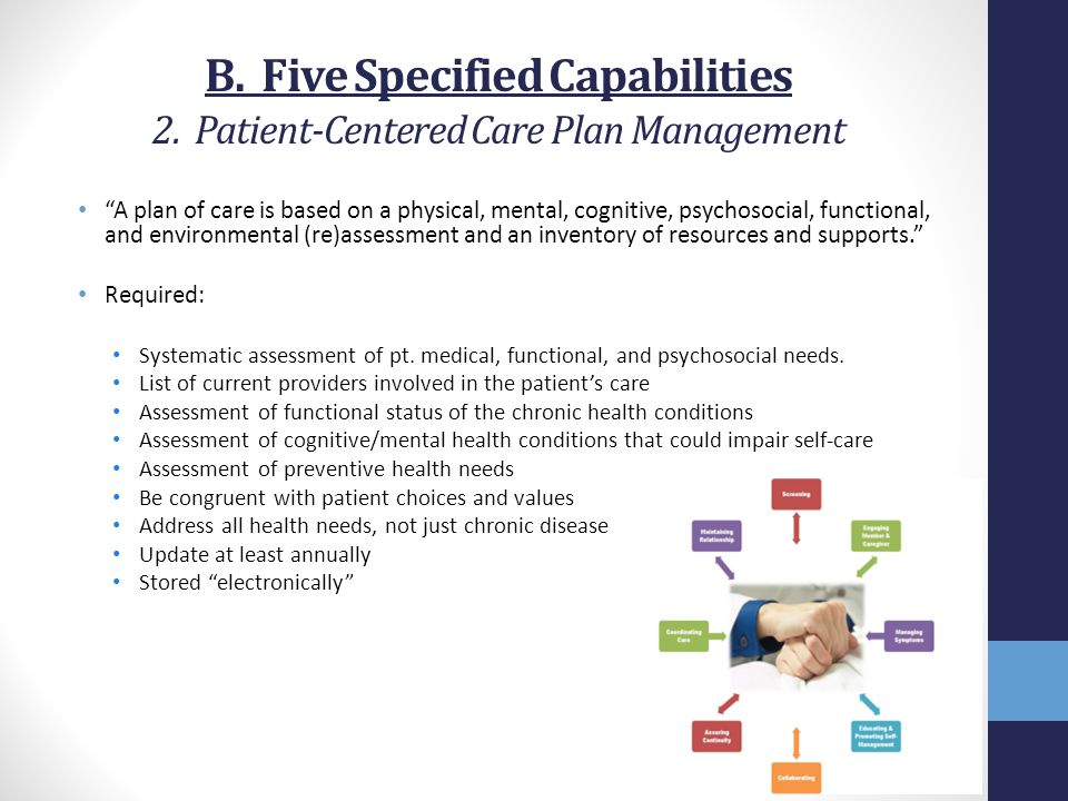 "B. Five Specified Capabilities 2. Patient-Centered Care Plan Management ""A plan of care is based on a physical, mental, cognitive, psychosocial, funct"