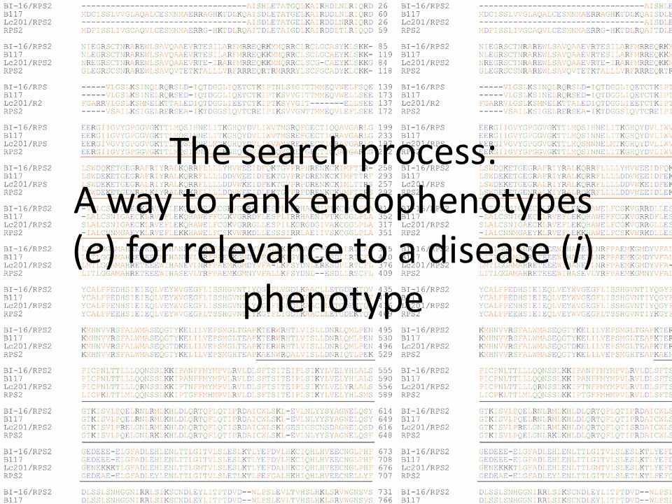 The search process: A way to rank endophenotypes (e) for relevance to a disease (i) phenotype