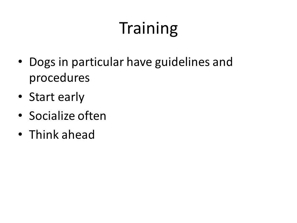 Training Dogs in particular have guidelines and procedures Start early Socialize often Think ahead