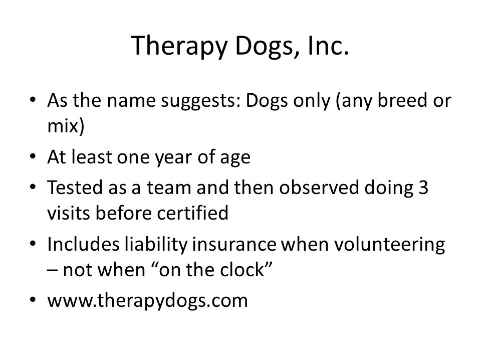 Pet Partners Various species included: dogs, cats, alpacas, horses, rabbits, pocket pets, birds, pigs Course and evaluation for person and then team test Smaller pets at least 6 months old; dogs and larger animals at least one year old Also offers liability insurance when volunteering www.petpartners.org