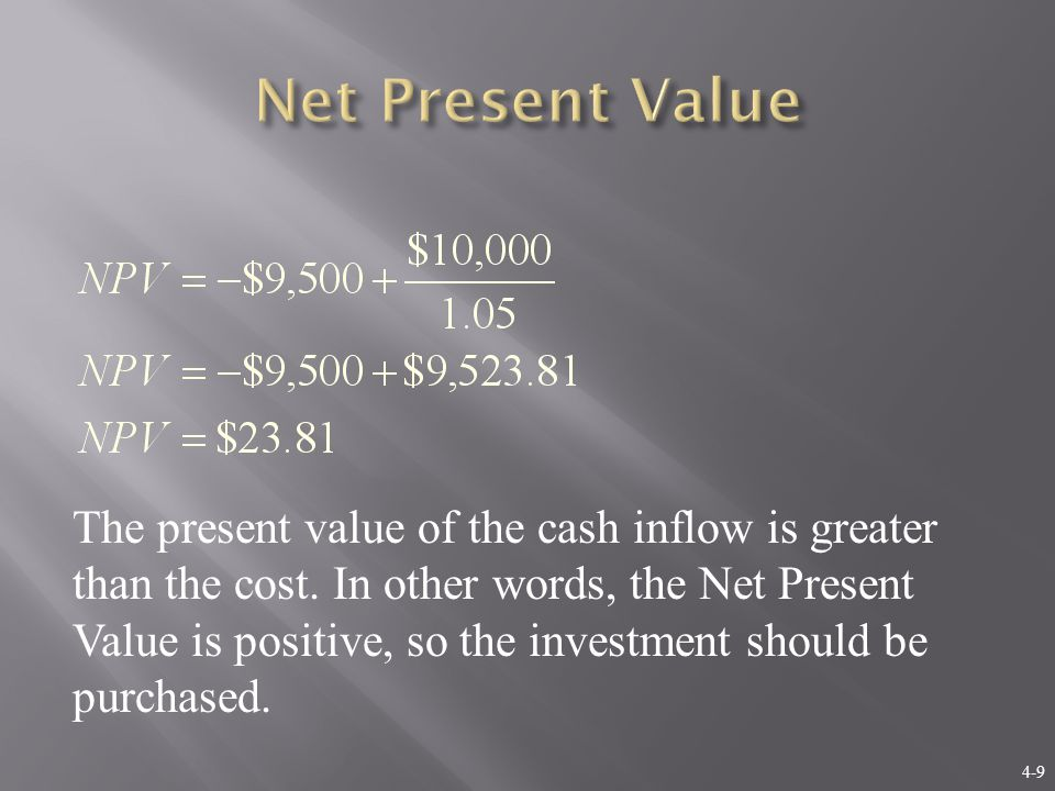 4-10 In the one-period case, the formula for NPV can be written as: NPV = – Cost + PV If we had not undertaken the positive NPV project considered on the last slide, and instead invested our $9,500 elsewhere at 5 percent, our FV would be less than the $10,000 the investment promised, and we would be worse off in FV terms : $9,500×(1.05) = $9,975 < $10,000
