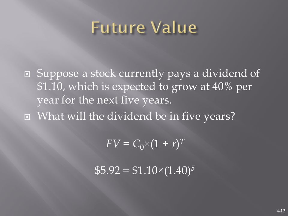4-12  Suppose a stock currently pays a dividend of $1.10, which is expected to grow at 40% per year for the next five years.