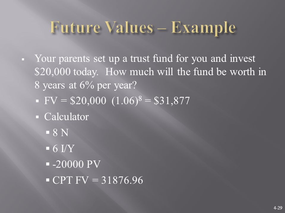 4-29  Your parents set up a trust fund for you and invest $20,000 today. How much will the fund be worth in 8 years at 6% per year?  FV = $20,000 (1