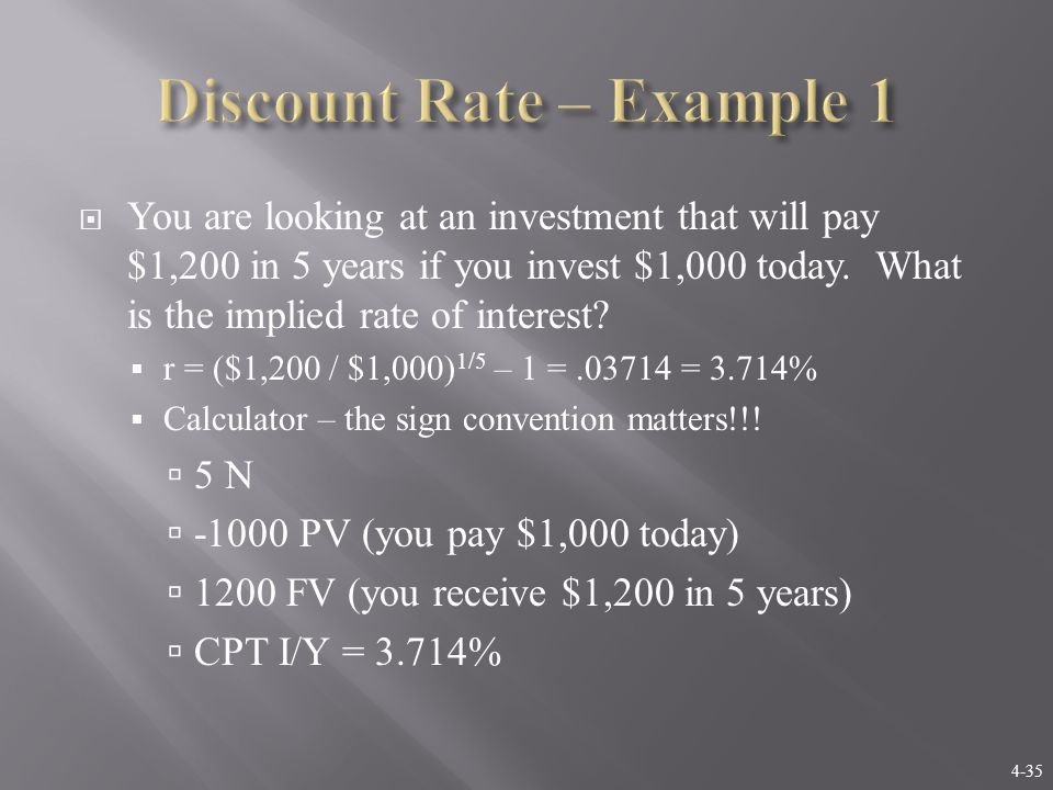 4-36  Suppose you are offered an investment that will allow you to double your money in 6 years.