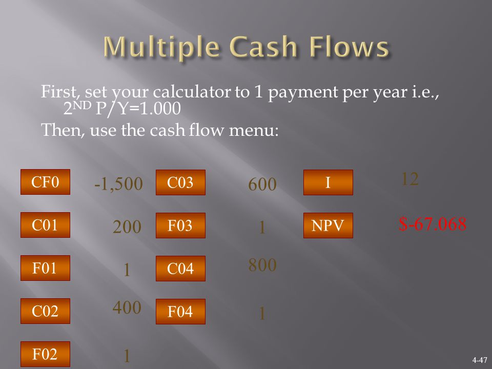 4-47 First, set your calculator to 1 payment per year i.e., 2 ND P/Y=1.000 Then, use the cash flow menu: C02 C01 F02 F01 CF0 1 200 1 $-67.068 -1,500 400 I NPV 12 C04 C03 F04 F03 1 600 1 800