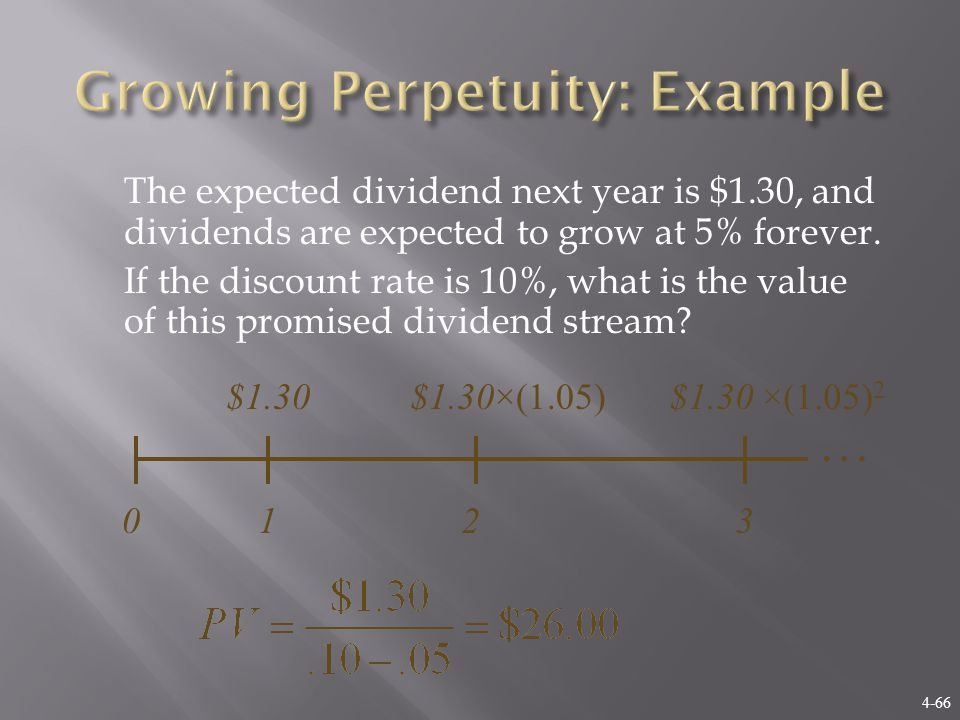 4-66 The expected dividend next year is $1.30, and dividends are expected to grow at 5% forever.