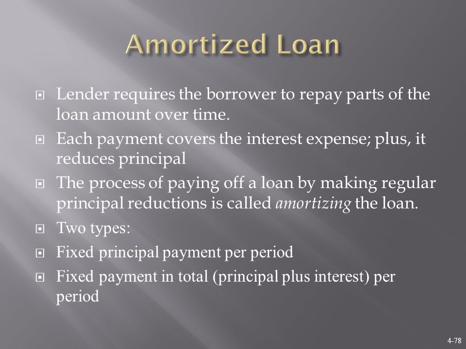 4-78  Lender requires the borrower to repay parts of the loan amount over time.