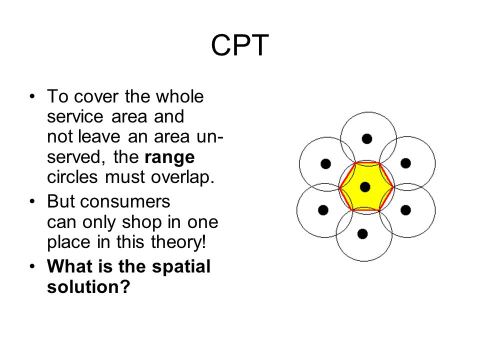 CPT To cover the whole service area and not leave an area un- served, the range circles must overlap.