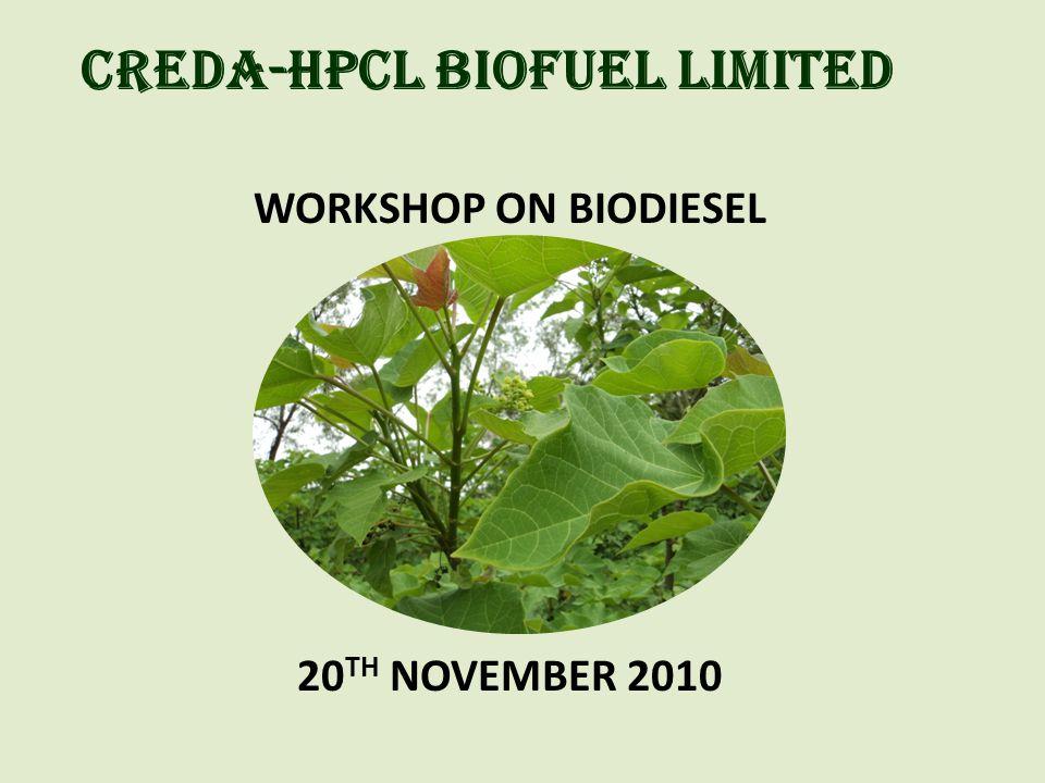 CREDA-HPCL BIOFUEL LIMITED WORKSHOP ON BIODIESEL 20 TH NOVEMBER 2010