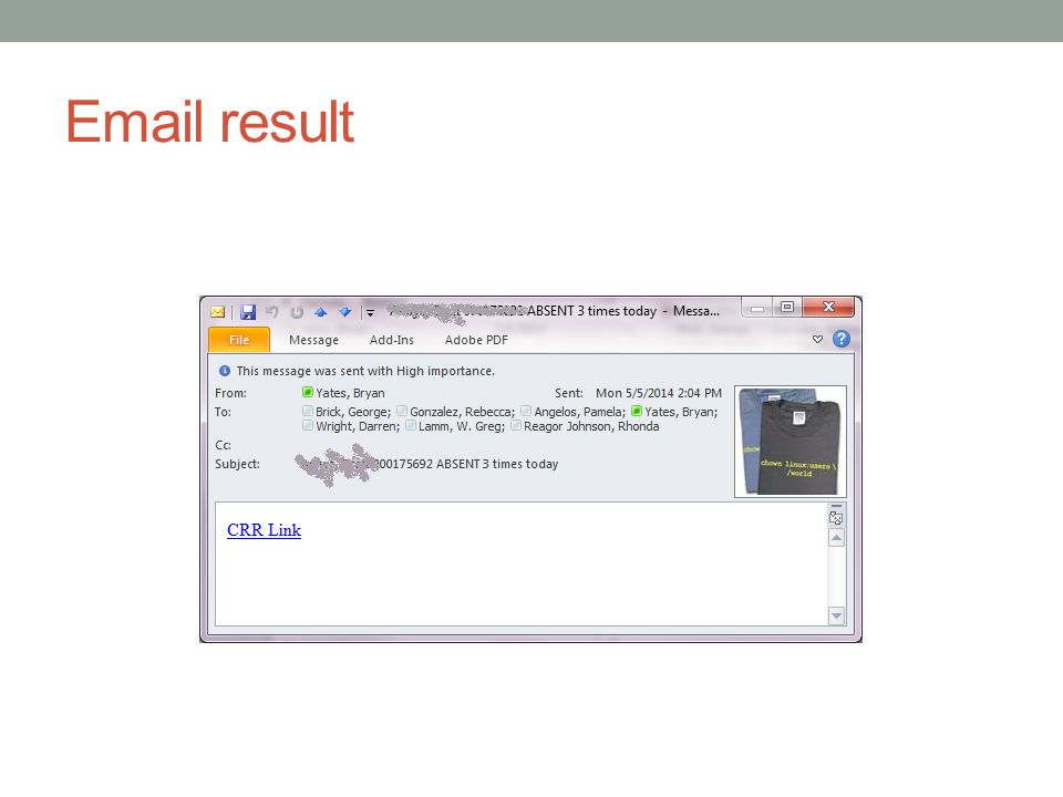 Email result