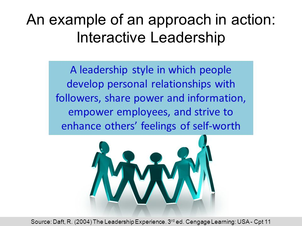 An example of an approach in action: Interactive Leadership A leadership style in which people develop personal relationships with followers, share power and information, empower employees, and strive to enhance others' feelings of self-worth Daft cpt 11 Source: Daft, R.