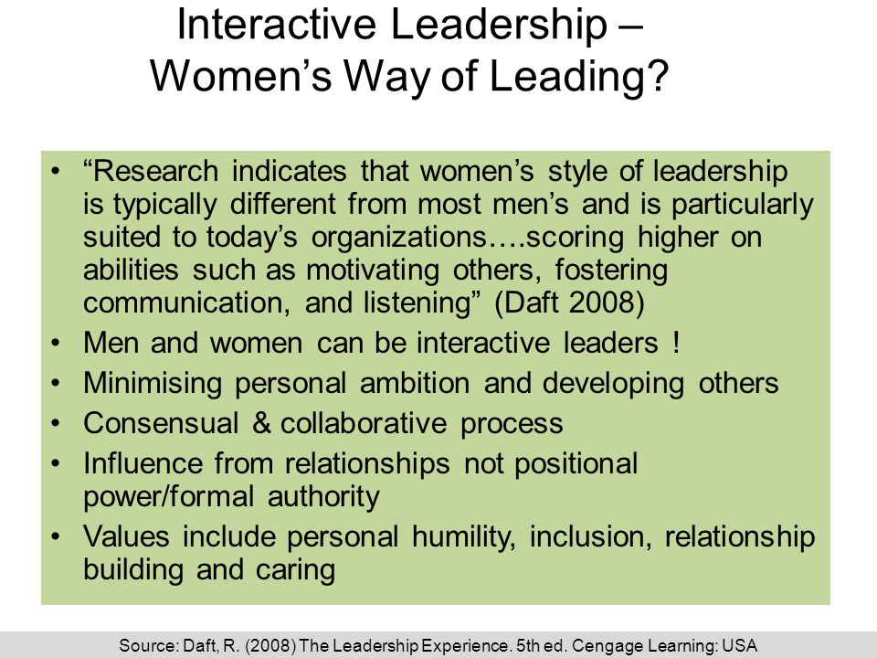 Interactive Leadership – Women's Way of Leading.