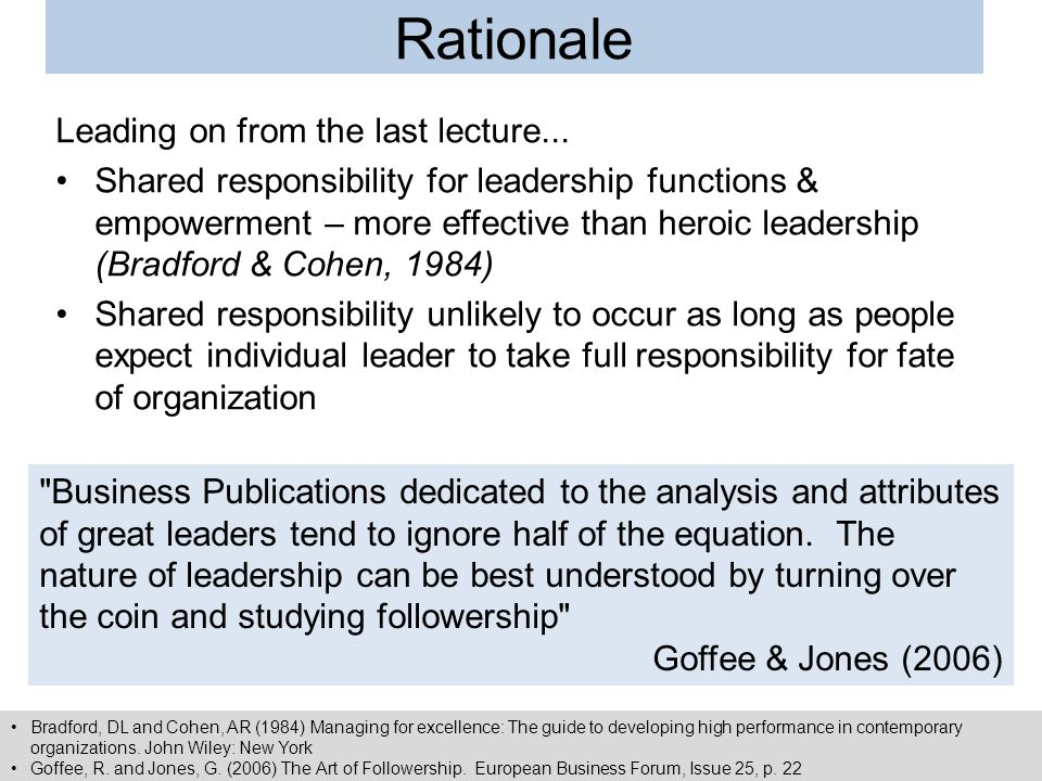 Rationale Leading on from the last lecture...