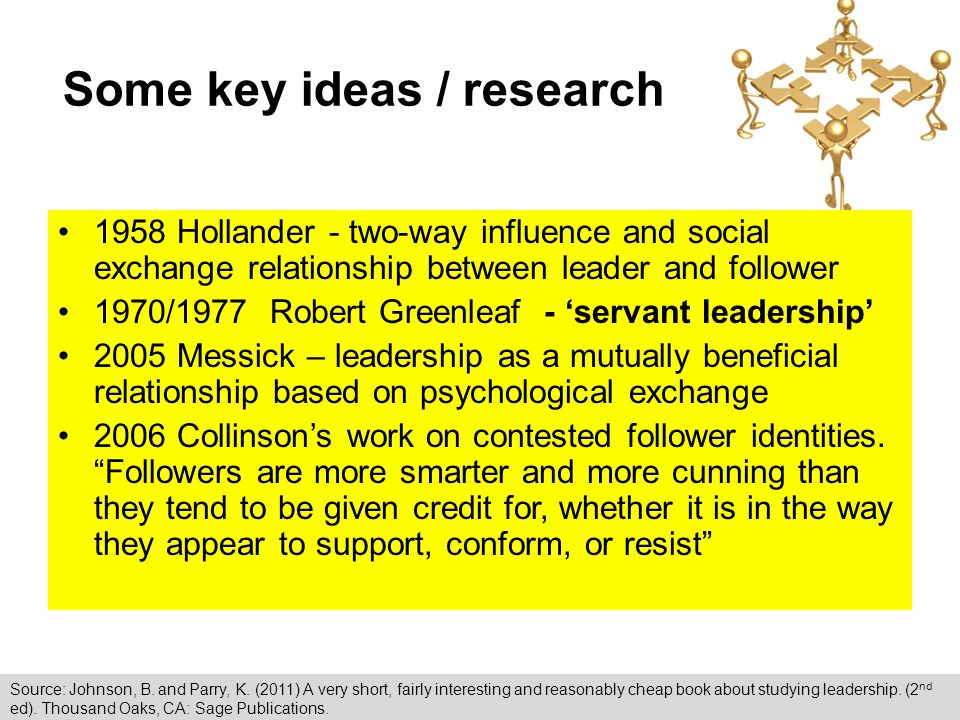 Some key ideas / research 1958 Hollander - two-way influence and social exchange relationship between leader and follower 1970/1977 Robert Greenleaf - 'servant leadership' 2005 Messick – leadership as a mutually beneficial relationship based on psychological exchange 2006 Collinson's work on contested follower identities.