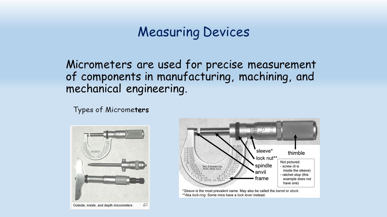 Measuring Devices Micrometers are used for precise measurement of components in manufacturing, machining, and mechanical engineering. Types of Microme