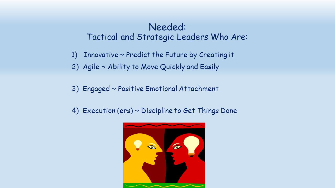 Needed: Tactical and Strategic Leaders Who Are: 1) Innovative ~ Predict the Future by Creating it 2) Agile ~ Ability to Move Quickly and Easily 3) Eng