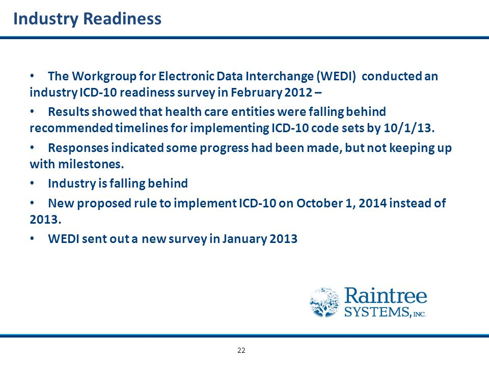 22 Industry Readiness The Workgroup for Electronic Data Interchange (WEDI) conducted an industry ICD-10 readiness survey in February 2012 – Results showed that health care entities were falling behind recommended timelines for implementing ICD-10 code sets by 10/1/13.