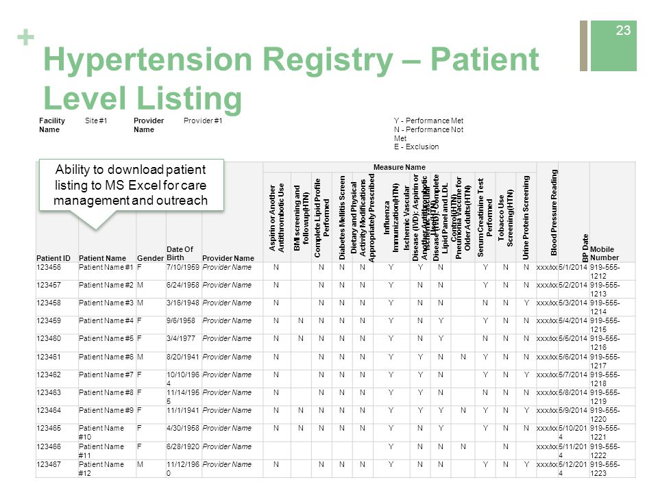 + Hypertension Registry – Patient Level Listing 23 Facility Name Site #1Provider Name Provider #1Y - Performance Met N - Performance Not Met E - Exclu