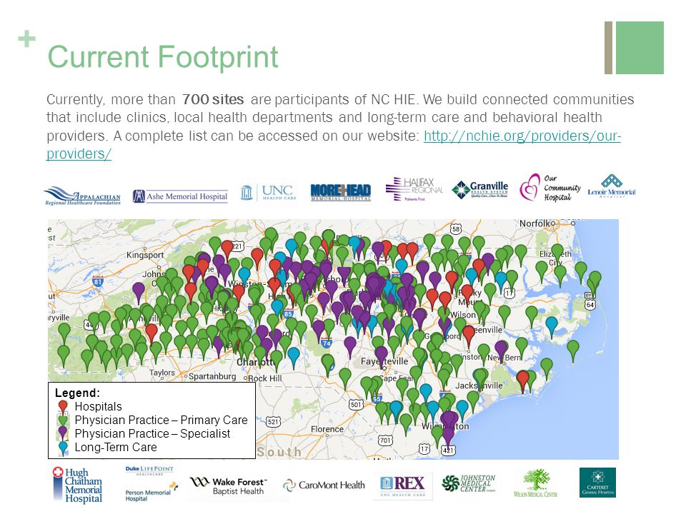 + Currently, more than 700 sites are participants of NC HIE.