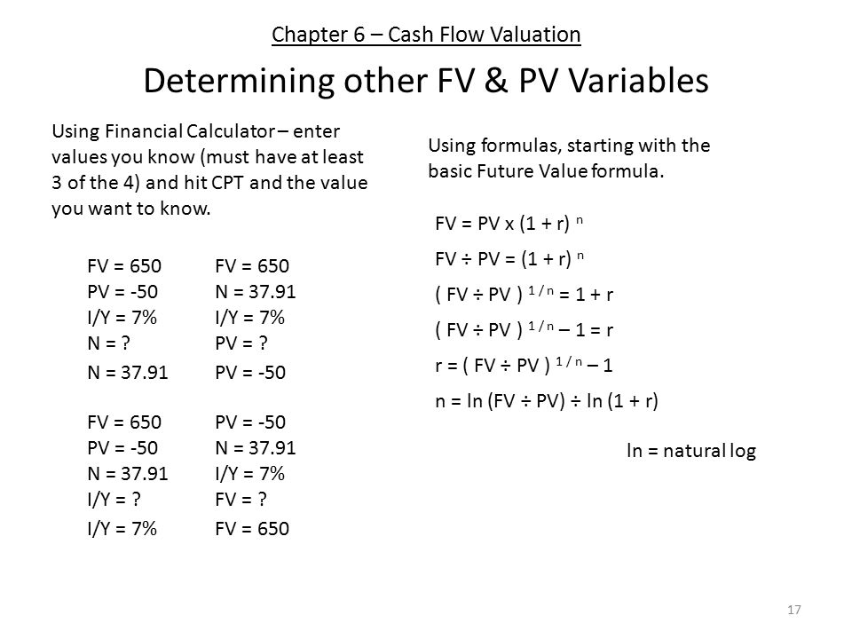 Chapter 6 – Cash Flow Valuation 17 Determining other FV & PV Variables Using Financial Calculator – enter values you know (must have at least 3 of the 4) and hit CPT and the value you want to know.